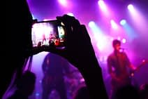 taking a picture in a music concert