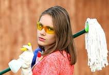 girl on cleaning job